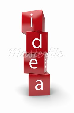 3d illustration of idea text on red boxes Stock Photo - Royalty-Free, Artist: kotist                        , Code: 400-05716629