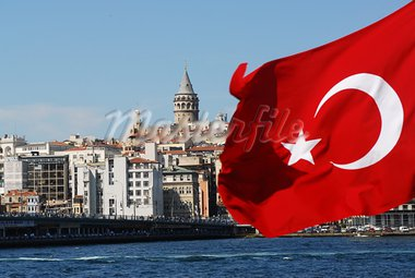 istanbul bridge from the boat with Turkey flag Stock Photo - Royalty-Free, Artist: Leonardoboss                  , Code: 400-05716643