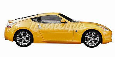 Yellow car sport coupe isolated on white background Stock Photo - Royalty-Free, Artist: pzaxe                         , Code: 400-05716809