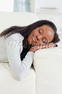 Young woman lying on the sofa with eyes closed Stock Photo - Royalty-Free, Artist: 4774344sean                   , Code: 400-05716999