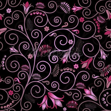 Black seamless floral pattern with pink flowers and curls (vector) Stock Photo - Royalty-Free, Artist: OlgaDrozd                     , Code: 400-05717051