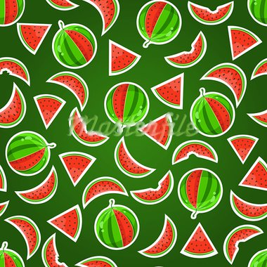 Juicy Watermelon Seamless Pattern on Dark Green Background Stock Photo - Royalty-Free, Artist: nikifiva                      , Code: 400-05717205