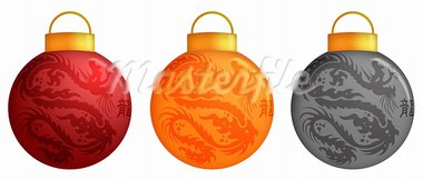Chinese Dragon Christmas Ornaments Design and Calligraphy Illustration Stock Photo - Royalty-Free, Artist: jpldesigns                    , Code: 400-05717637
