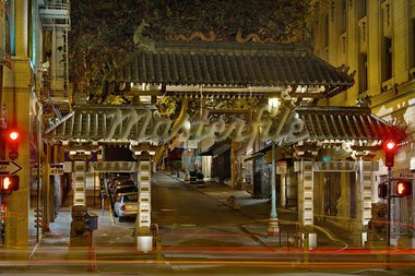 Chinatown Gate in San Francisco California at Night Stock Photo - Royalty-Free, Artist: jpldesigns                    , Code: 400-05717789