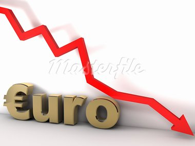 Euro chart is going down and hits the ground Stock Photo - Royalty-Free, Artist: novelo                        , Code: 400-05718015