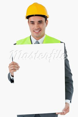 Smiling architect holding sign against a white background Stock Photo - Royalty-Free, Artist: 4774344sean                   , Code: 400-05718356