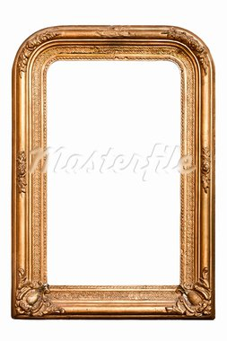 Magic mirror, very old wooden frame, (No#7), baroque style, vertical,  isolated on white  (clipping paths included) Stock Photo - Royalty-Free, Artist: LambrosKazan                  , Code: 400-05718778