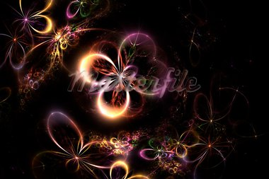 Flower fractal on a black background Stock Photo - Royalty-Free, Artist: Aydatanya                     , Code: 400-05718998