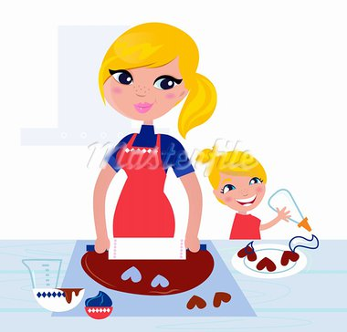 Happy blond hair Mother with Daughter baking together. Vector  Stock Photo - Royalty-Free, Artist: lordalea                      , Code: 400-05719115