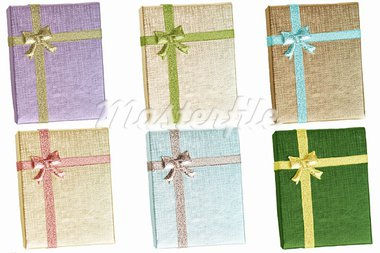 Gift boxes with ribbons in varios colors Stock Photo - Royalty-Free, Artist: guillerusso                   , Code: 400-05719149
