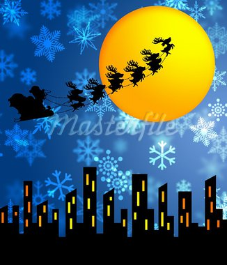 Santa Sleigh and Reindeers Flying over the City with Moon Illustration Stock Photo - Royalty-Free, Artist: jpldesigns                    , Code: 400-05719258