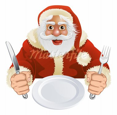 Illustration of Santa Claus seated for Christmas Dinner with empty plate and knife and fork Stock Photo - Royalty-Free, Artist: Krisdog                       , Code: 400-05719286