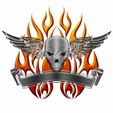 Skull with Wings Flames and Banner Illustration Stock Photo - Royalty-Free, Artist: jpldesigns                    , Code: 400-05719365