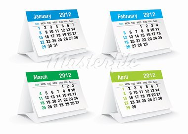 2012 desk calendar - vector illustration Stock Photo - Royalty-Free, Artist: lajo_2                        , Code: 400-05719773