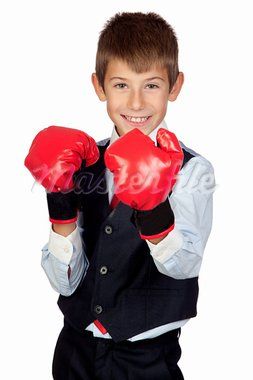 Businessman with boxing gloves isolated on a over white background Stock Photo - Royalty-Free, Artist: Gelpi                         , Code: 400-05720050