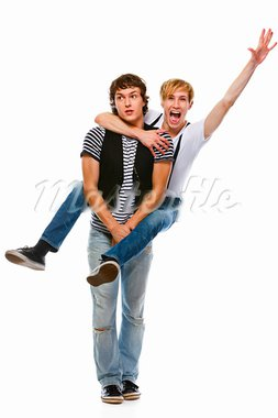Cheerful teenager piggy backing his friend. Isolated on white   Stock Photo - Royalty-Free, Artist: citalliance                   , Code: 400-05720164