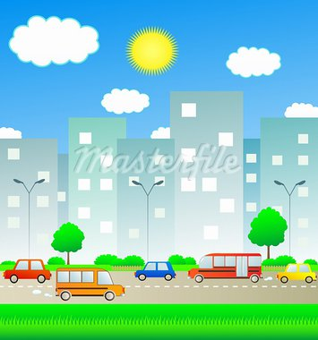 transport in summer city with sun and cloud Stock Photo - Royalty-Free, Artist: keltt                         , Code: 400-05720874