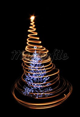 xmas tree isolated on the black background Stock Photo - Royalty-Free, Artist: jonnysek                      , Code: 400-05721552