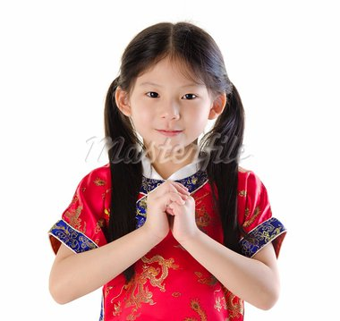 Little oriental girl wishing you a happy Chinese New Year Stock Photo - Royalty-Free, Artist: szefei                        , Code: 400-05722902