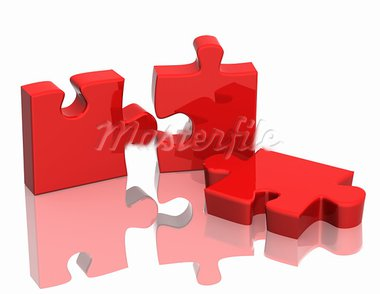 Three parts of a puzzle. Objects over white Stock Photo - Royalty-Free, Artist: frenta                        , Code: 400-05723039