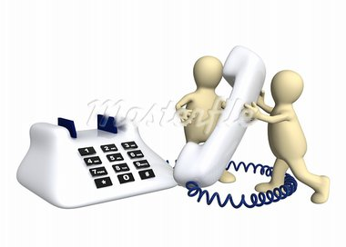 Two puppets with phone - isolated over white Stock Photo - Royalty-Free, Artist: frenta                        , Code: 400-05723042