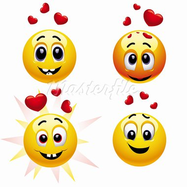 Smiling balls falling in love Stock Photo - Royalty-Free, Artist: dejanj01                      , Code: 400-05724047