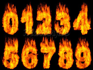 3D Illustration of burning digits isolated on black background. Stock Photo - Royalty-Free, Artist: ConceptStockPhotos            , Code: 400-05724063