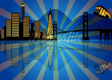 Reflection of San Francisco City Skyline at Night Illustration Stock Photo - Royalty-Free, Artist: jpldesigns                    , Code: 400-05724074