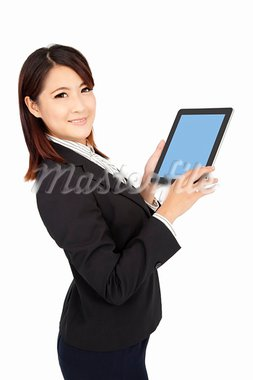 smart businesswoman holding touch pad computer and isolated on white Stock Photo - Royalty-Free, Artist: tomwang                       , Code: 400-05724083