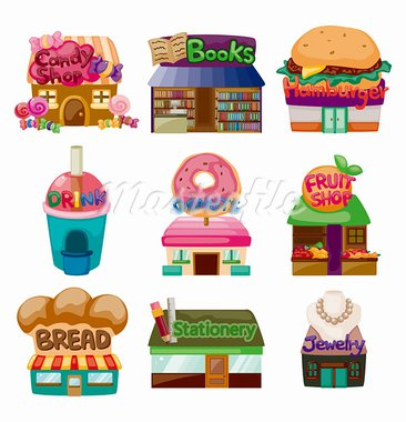 cartoon shop/house icons Stock Photo - Royalty-Free, Artist: notkoo2008                    , Code: 400-05724245