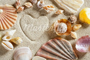 beach white sand with heart shape printed and shells such a summer vacation concept still life Stock Photo - Royalty-Free, Artist: lunamarina                    , Code: 400-05724639