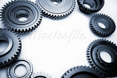 Steel gears on plain background. Copy space Stock Photo - Royalty-Free, Artist: STILLFX                       , Code: 400-05725095