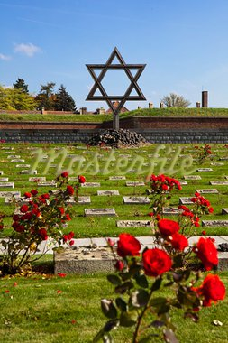 The Jewish Memorial at the Terezin cemetery is a remembrance to the Jews who died at the World War II German prison camp in Czechoslovakia. The graves are marked with rose bushes. Stock Photo - Royalty-Free, Artist: searagen                      , Code: 400-05725709