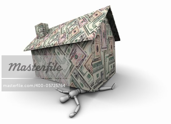 High resolution 3D illustration of mannequin trapped under house made of various U.S. dollar bills. Stock Photo - Royalty-Free, Artist: eyeidea                       , Code: 400-05725764
