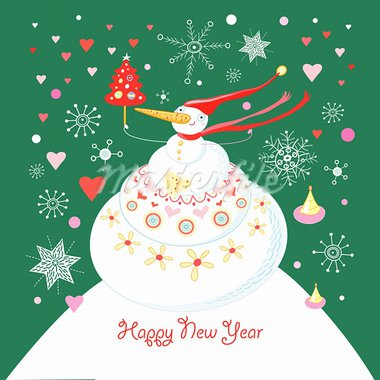 greeting card with a large white snowman on a green background with snowflakes Stock Photo - Royalty-Free, Artist: tanor                         , Code: 400-05728084