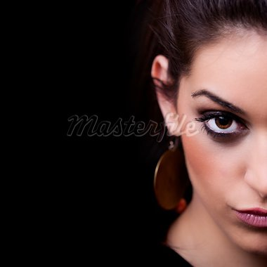 Woman. Half face portrait on black Stock Photo - Royalty-Free, Artist: LambrosKazan                  , Code: 400-05728250