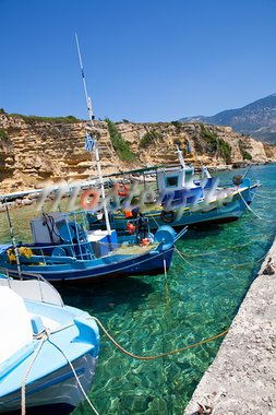 Fishing boats in the harbor in Kefalonia, Greece Stock Photo - Royalty-Free, Artist: ElinaManninen                 , Code: 400-05728342