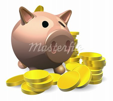Piggy bank with gold coins illustration, savings concept Stock Photo - Royalty-Free, Artist: Krisdog                       , Code: 400-05729880