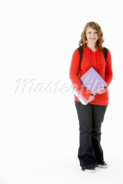 Full Length Studio Portrait Of Female Teenage Student Stock Photo - Royalty-Free, Artist: MonkeyBusinessImages          , Code: 400-05730012