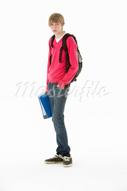 Full Length Studio Portrait Of Male Teenage Student Stock Photo - Royalty-Free, Artist: MonkeyBusinessImages          , Code: 400-05730014