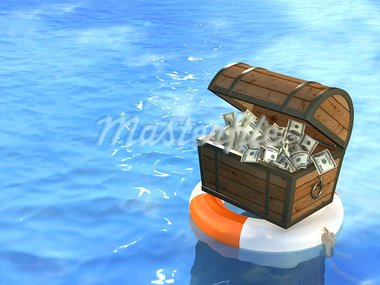Lifebuoy and wooden box with dollars Stock Photo - Royalty-Free, Artist: frenta                        , Code: 400-05730052