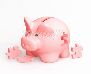 Piggy bank and puzzles. Isolated over white Stock Photo - Royalty-Free, Artist: frenta                        , Code: 400-05730054