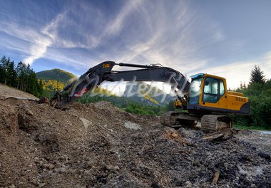 Excavator in the mountains at a stone quarry Stock Photo - Royalty-Free, Artist: ckkeller                      , Code: 400-05730074