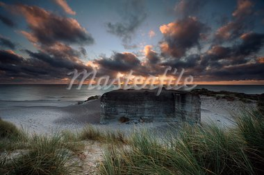 German bunker at a coast in Denmark one morning with nice clouds Stock Photo - Royalty-Free, Artist: ckkeller                      , Code: 400-05730096