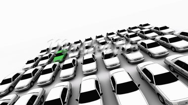 Forty generic cars with one green. DOF, focus is on green car.   Stock Photo - Royalty-Free, Artist: eyeidea                       , Code: 400-05730279