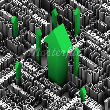 Financial words and terms with several red arrows shooting up through.  3D illustration. Stock Photo - Royalty-Free, Artist: eyeidea                       , Code: 400-05730301