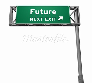 Future - Freeway Exit Sign. 3D illustration isolated on white background. Stock Photo - Royalty-Free, Artist: eyeidea                       , Code: 400-05730317
