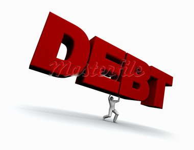 Illustration of a man lifing the word DEBT. 3D illustration isolated on white background.  Stock Photo - Royalty-Free, Artist: eyeidea                       , Code: 400-05730474