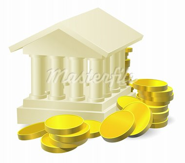 Illustration of a stylised bank building surrounded by large gold coins Stock Photo - Royalty-Free, Artist: Krisdog                       , Code: 400-05730546