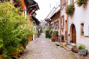 Street Gothic town in France, Eguisheim, Alsace Stock Photo - Royalty-Free, Artist: nazzu                         , Code: 400-05730560